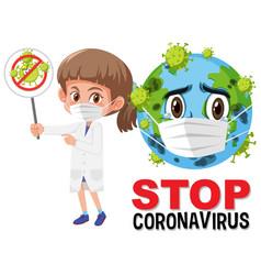stop coronavirus logo with earth wearing mask vector image
