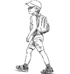 Striding little boy vector