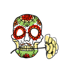 Sugar skull hand drawn icon vector