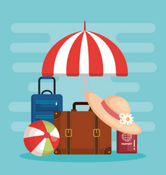 suitcase and accessories travel vacations concept vector image