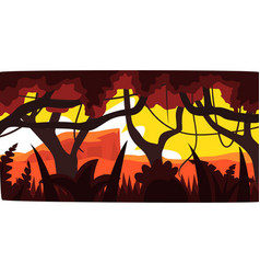 Sunset in tropical jungle greenwood background vector