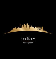 Sydney australia city silhouette black background vector