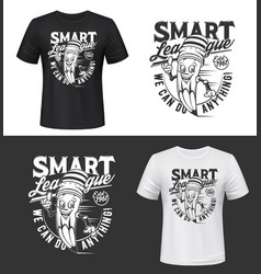 T-shirt print with smiling pencil vector