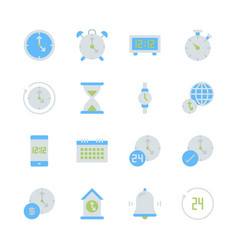 time and clock in flat icon set design vector image