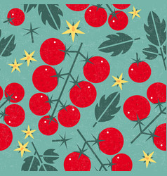 tomato cherry seamless pattern leaves flowers vector image