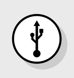 usb sign flat black icon in vector image