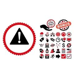 Warning Flat Icon with Bonus vector image