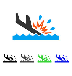 Water air crash flat icon vector