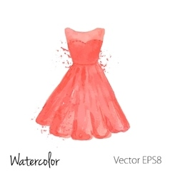 Watercolor painted red dress vector
