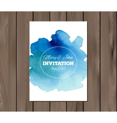 wedding invitation with watercolor stain vector image