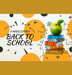 welcome back to school web banner apple and vector image
