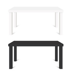 white and black tables isolated on white vector image