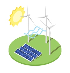 windmill and solar panels vector image