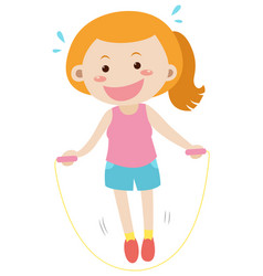 woman doing jumprope alone vector image