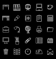 Workspace line icons on black background vector