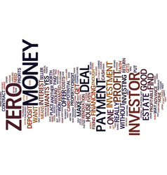 Zero down text background word cloud concept vector