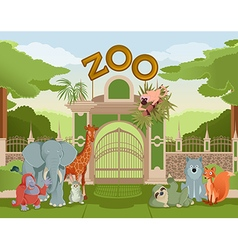 Zoo gate with animals 3 vector