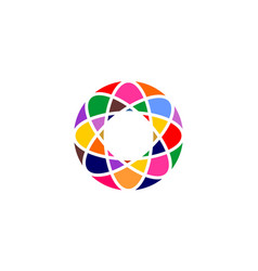 abstract circle network rainbow colorful vector image