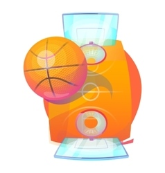 Basketball ball over court with backboards and net vector image