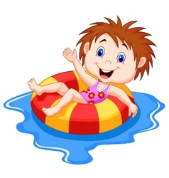 Girl cartoon floating on an inflatable circle in t vector image vector image