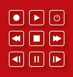 Media player control buttons vector image vector image