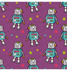seamless pattern with vintage toy robot vector image