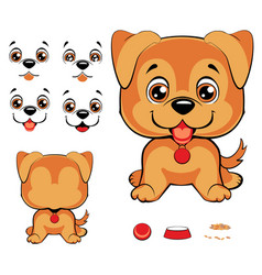 set of cartoon faces with black dog nose and vector image