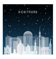 winter night in dortmund night city in flat style vector image
