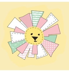 Yellow Funny Sun in Patchwork Style Isolated vector image vector image