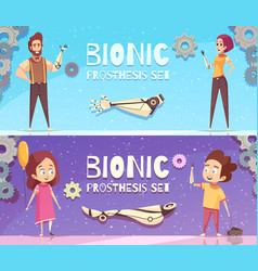 bionic prosthesis banners set vector image vector image