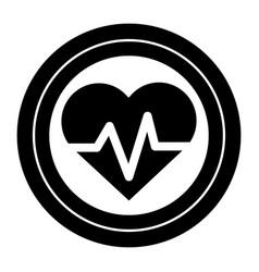 Contour sticker heartbeat cardio vital sign vector