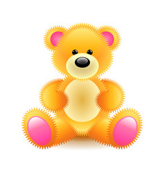 cute orange bear soft toy isolated on white vector image