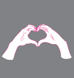 gesture female hands in the form of heart vector image
