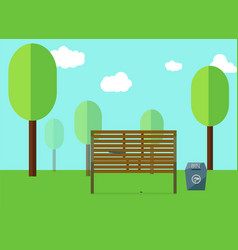 park and wooden public seats and blue bin side vector image vector image