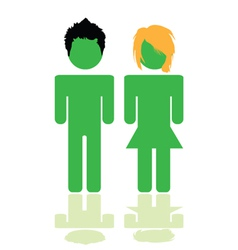 people in green color with hair style vector image vector image