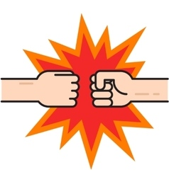 Two fists bumping together hands in air vector image vector image