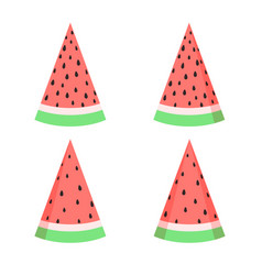 watermelon slices set in flat style isolated vector image vector image