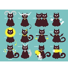 Cat zodiac icons vector image