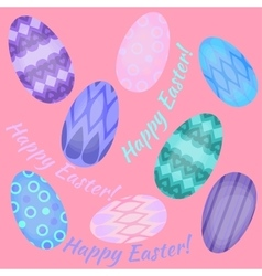 Easter holiday card with colorful eggs flat Happy vector image vector image