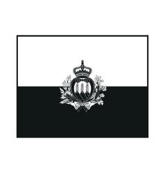 flag of San Marino monochrome on white background vector image