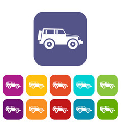 jeep icons set vector image