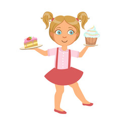 Little girl carring a piece of cake and a capcake vector