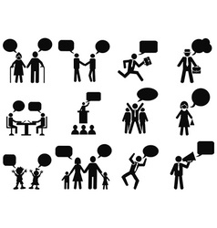people with speech bubbles icons vector image