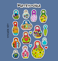 russian nesting dolls matryoshka sticker set for vector image