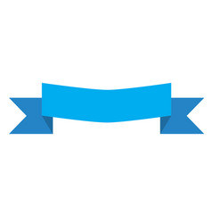 Blue banner ribbon and label on white background vector
