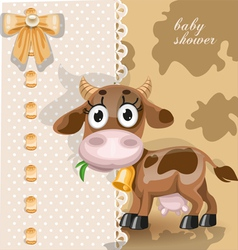 Delicate baby shower card with cute baby cow vector image