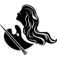 Muse of painting black stencil for stickers vector image vector image