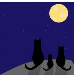 Silhouette of cat with full moon vector image vector image