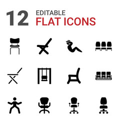 12 sit icons vector