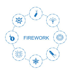8 firework icons vector image
